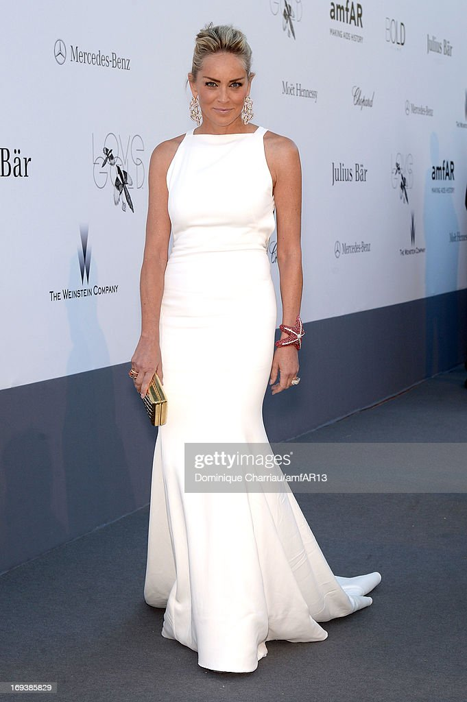 Actress <a gi-track='captionPersonalityLinkClicked' href=/galleries/search?phrase=Sharon+Stone&family=editorial&specificpeople=156409 ng-click='$event.stopPropagation()'>Sharon Stone</a> attends amfAR's 20th Annual Cinema Against AIDS during The 66th Annual Cannes Film Festival at Hotel du Cap-Eden-Roc on May 23, 2013 in Cap d'Antibes, France.