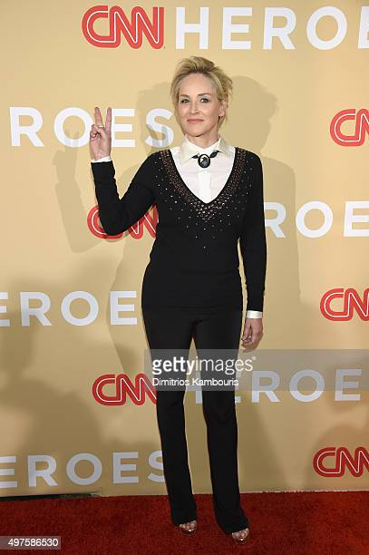 Actress Sharon Stone attends CNN Heroes 2015 Red Carpet Arrivals at American Museum of Natural History on November 17 2015 in New York City 25619_023