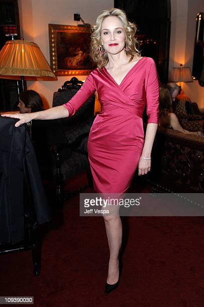 Actress Sharon Stone attends Harvey Weinstein and Dior's Oscar Dinner at Chateau Marmont on February 23 2011 in Los Angeles California