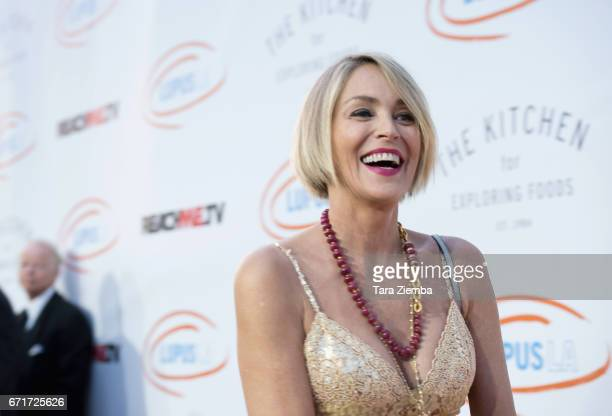 Actress Sharon Stone attends Lupus LA's 2017 Orange Ball Rocket To A Cure at California Science Center on April 22 2017 in Los Angeles California