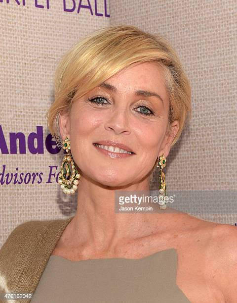 Actress Sharon Stone attends the 14th annual Chrysalis Butterfly Ball sponsored by Audi Kayne Anderson Lauren B Beauty and Z Gallerie on June 6 2015...