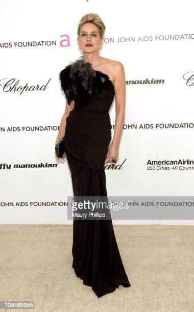 Actress Sharon Stone attends the 19th Annual Elton John AIDS Foundation's Oscar viewing party held at the Pacific Design Center on February 27 2011...