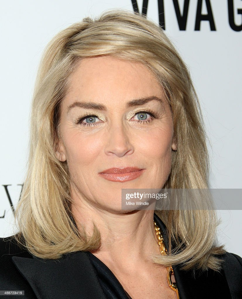 Actress Sharon Stone attends the 2013 amfAR Inspiration Gala Los Angeles at Milk Studios on December 12, 2013 in Los Angeles, California.