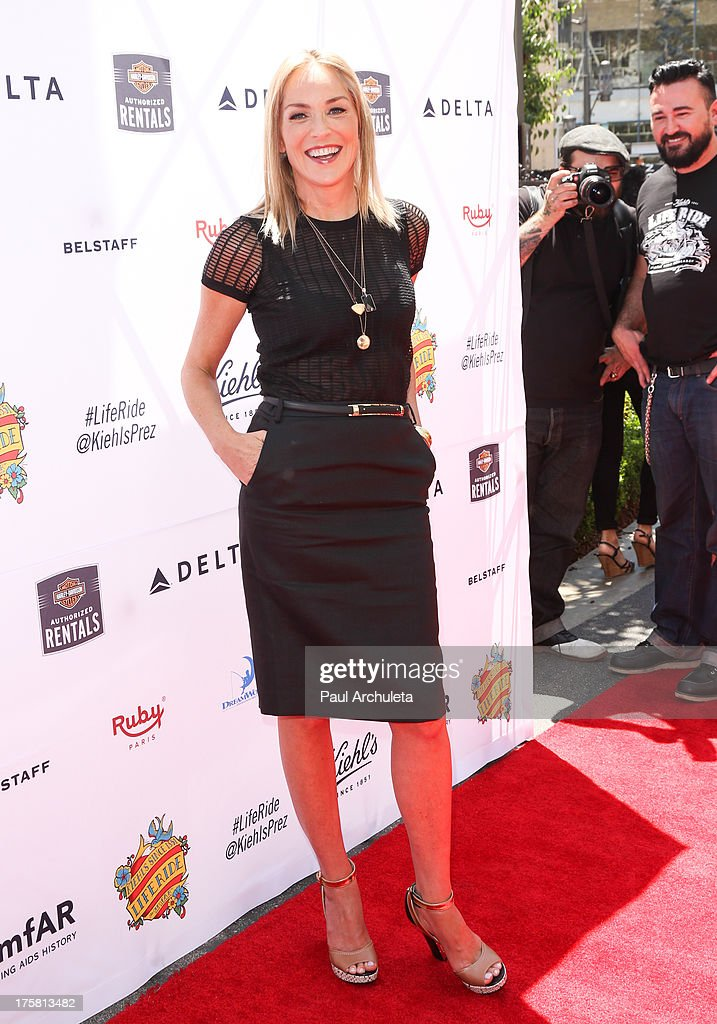 Actress Sharon Stone attends the 4th annual Kiehl's LifeRide for amfAR at The Grove on August 8, 2013 in Los Angeles, California.