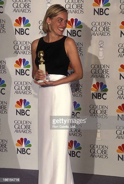 Actress Sharon Stone attends the 53rd Annual Golden Globe Awards on January 21 1996 at Beverly Hilton Hotel in Beverly Hills California