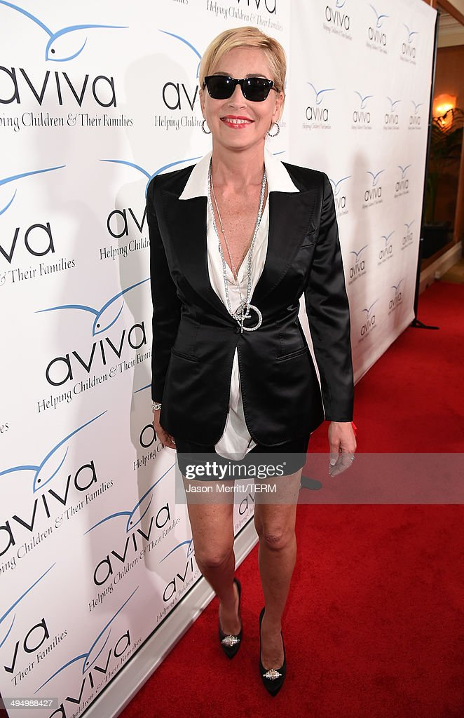 Actress <a gi-track='captionPersonalityLinkClicked' href=/galleries/search?phrase=Sharon+Stone&family=editorial&specificpeople=156409 ng-click='$event.stopPropagation()'>Sharon Stone</a> attends the Aviva 'A' Gala at the Beverly Wilshire Four Seasons Hotel on May 31, 2014 in Beverly Hills, California.