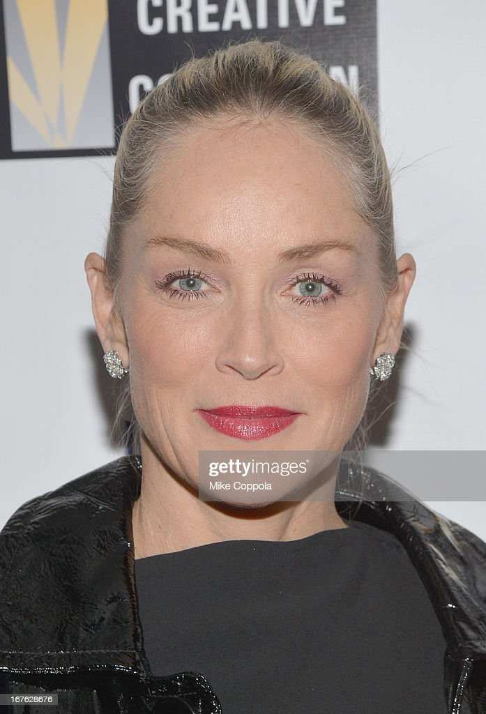 Actress <a gi-track='captionPersonalityLinkClicked' href=/galleries/search?phrase=Sharon+Stone&family=editorial&specificpeople=156409 ng-click='$event.stopPropagation()'>Sharon Stone</a> attends the Celebrating The Arts In American Dinner Party With Distinguished Women In Media Presented By Landmark Technology Inc. And The Creative Coalition at Neyla on April 26, 2013 in Washington, DC.