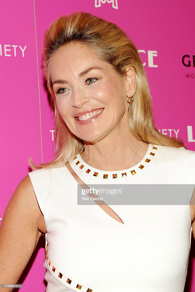 Actress Sharon Stone attends The Cinema Society and MCM with Grey Goose host a screening of Radius TWC's 'Lovelace' at The Museum of Modern Art on July 30, 2013 in New York City.