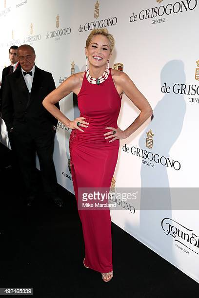 Actress Sharon Stone attends the De Grisogono dinner party in collaboration with Gyunel during Cannes film festival at Hotel du CapEdenRoc on May 20...