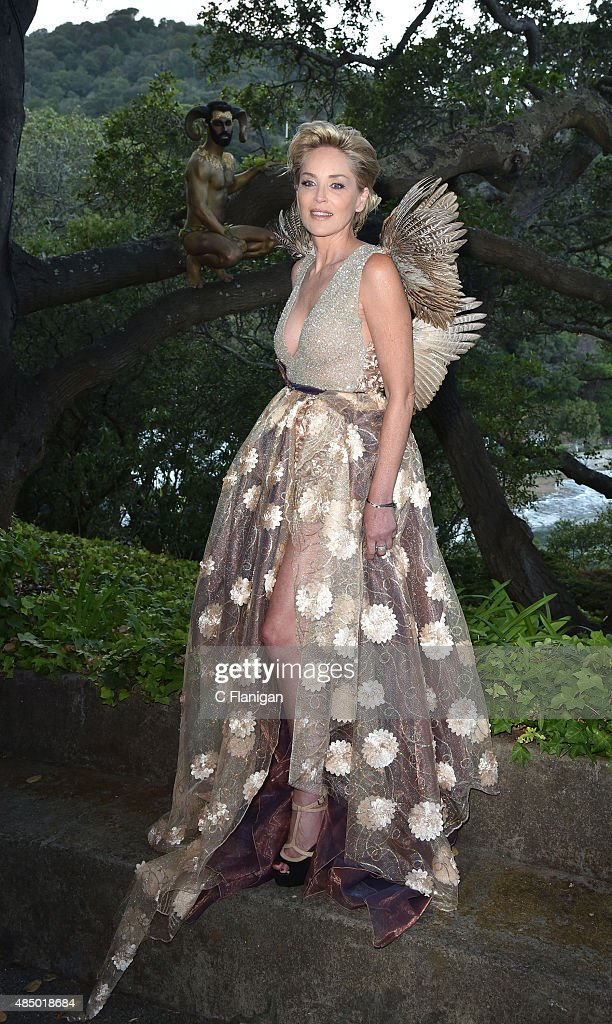 Actress <a gi-track='captionPersonalityLinkClicked' href=/galleries/search?phrase=Sharon+Stone&family=editorial&specificpeople=156409 ng-click='$event.stopPropagation()'>Sharon Stone</a> attends the Fourth Annual Hotbed Gala at The Drever Estate on August 22, 2015 in Tiburon, California.