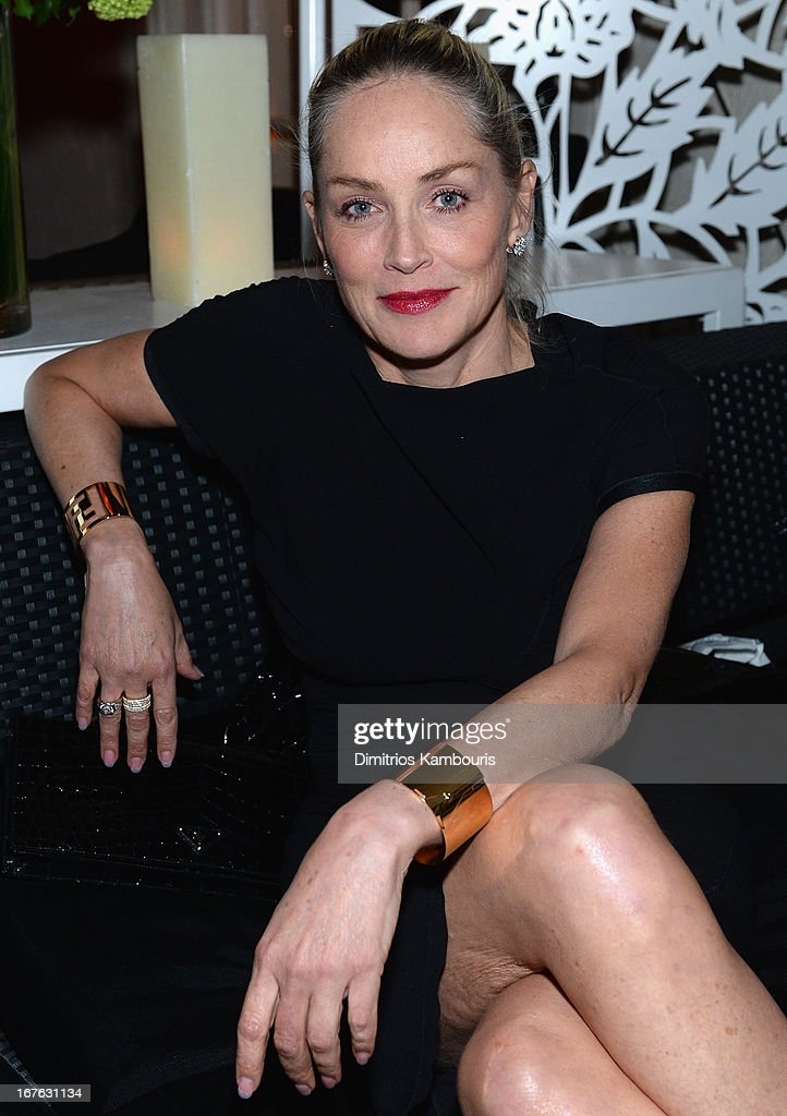 Actress <a gi-track='captionPersonalityLinkClicked' href=/galleries/search?phrase=Sharon+Stone&family=editorial&specificpeople=156409 ng-click='$event.stopPropagation()'>Sharon Stone</a> attends The New Yorker's David Remnick Hosts White House Correspondents' Dinner Weekend Pre-Party at W Hotel Rooftop on April 26, 2013 in Washington, DC.