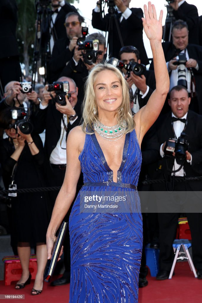 Actress Sharon Stone attends the Premiere of 'Behind the Candelabra' during the 66th Annual Cannes Film Festival at Palais des Festivals on May 21, 2013 in Cannes, France.