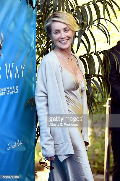 Actress Sharon Stone attends the special event for UN SecretaryGeneral Ban Kimoon hosted by Brett Ratner and David Raymond at Hilhaven Lodge on...