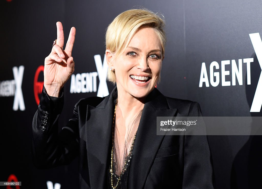 Actress <a gi-track='captionPersonalityLinkClicked' href=/galleries/search?phrase=Sharon+Stone&family=editorial&specificpeople=156409 ng-click='$event.stopPropagation()'>Sharon Stone</a> attends TNT's 'Agent X' screening at The London West Hollywood on October 20, 2015 in West Hollywood, California. 25769_001