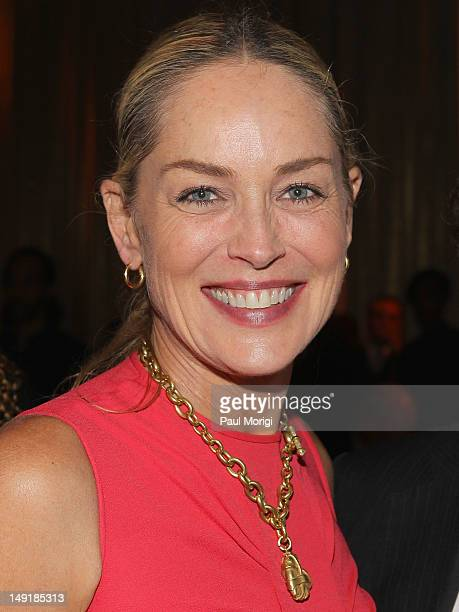 Actress Sharon Stone attends Together To End AIDS An Evening To Benefit amfAR and GBCHealth at John F Kennedy Center for the Performing Arts on July...