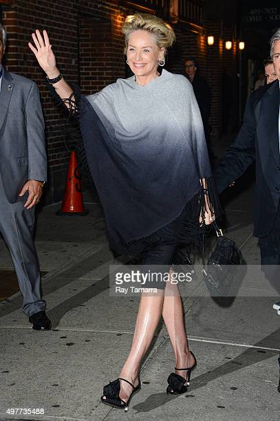Actress Sharon Stone enters the 'The Late Show With Stephen Colbert' taping at the Ed Sullivan Theater on November 18 2015 in New York City