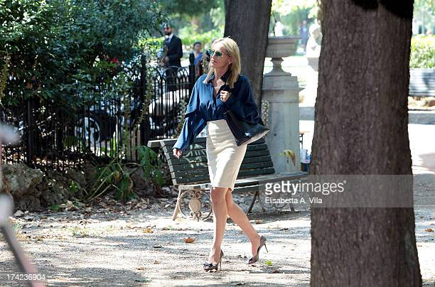 Actress Sharon Stone filming on location of Italian movie 'Un Ragazzo D'Oro' directed by Pupi Avati at Villa Borghese on July 22 2013 in Rome Italy