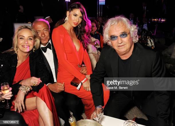Actress Sharon Stone Founder and President of de Grisogono Fawaz Gruosi Elisabetta Gregoraci and Flavio Briatore attends the de Grisogono Party...