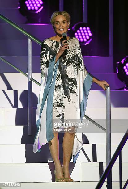 Actress Sharon Stone introduces a performance by Andrea Bocelli during the 19th annual Keep Memory Alive 'Power of Love Gala' benefit for the...