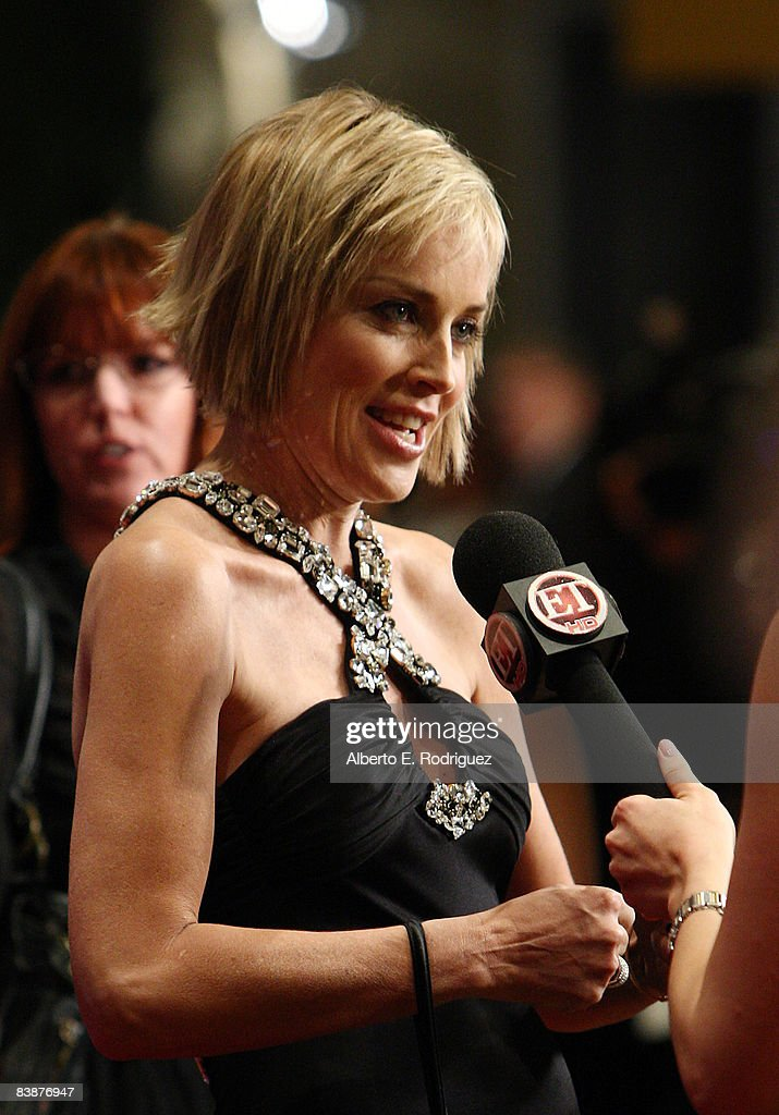 Actress Sharon Stone is interviewed as she arrives at the 23rd annual American Cinematheque show honoring Samuel L. Jackson held at Beverly Hilton Hotel on December 1, 2008 in Beverly Hills, California.