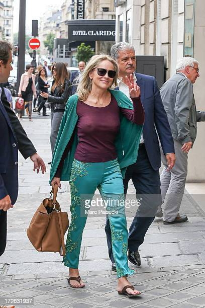 Actress Sharon Stone is seen arriving at the 'Fendi' office on July 4 2013 in Paris France