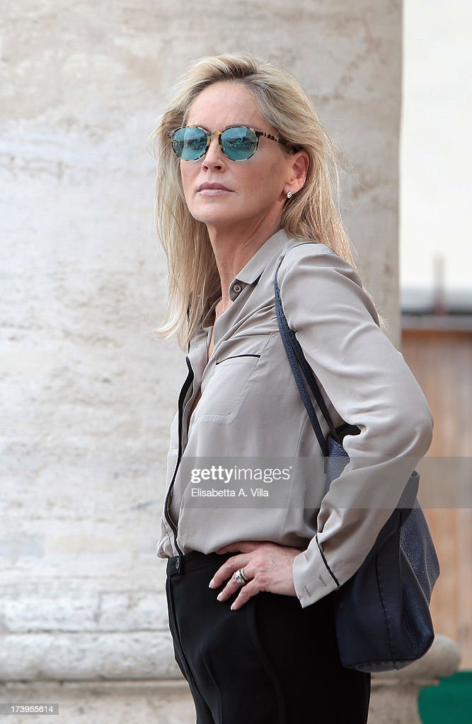 Actress <a gi-track='captionPersonalityLinkClicked' href=/galleries/search?phrase=Sharon+Stone&family=editorial&specificpeople=156409 ng-click='$event.stopPropagation()'>Sharon Stone</a> is seen on the set of 'Il Ragazzo D'Oro' Italian movie directed by Pupi Avati at Piazza Del Popolo on July 18, 2013 in Rome, Italy.