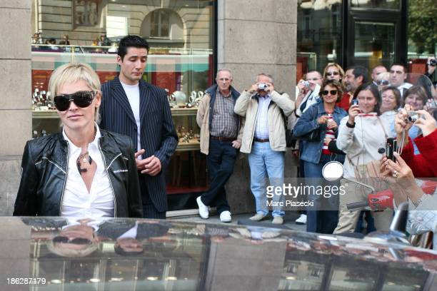 Actress Sharon Stone leaves the 'BONPOINT' store on September 19 2007 in Paris France