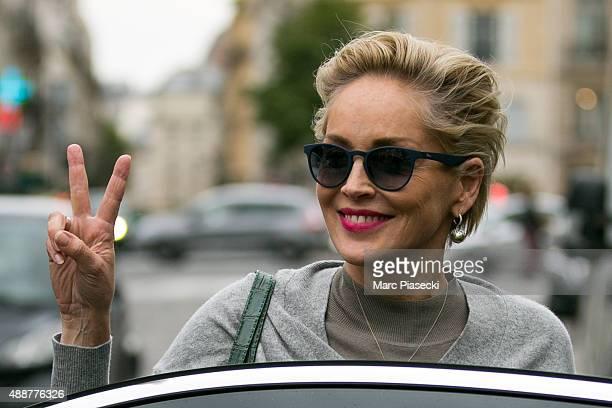 Actress Sharon Stone leaves the 'La Societe' restaurant on September 17 2015 in Paris France