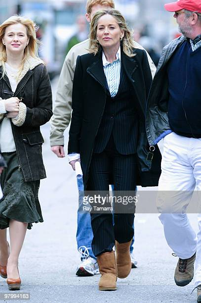 Actress Sharon Stone leaves the 'Law Order Special Victims Unit' film set in Tribeca on March 23 2010 in New York City