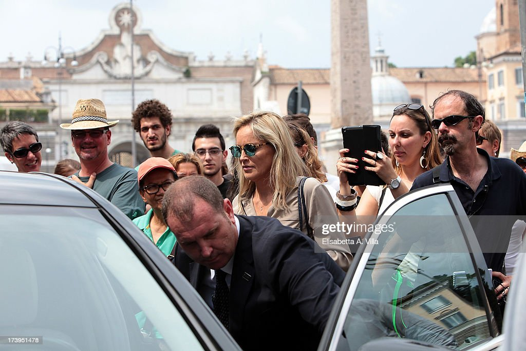 Actress <a gi-track='captionPersonalityLinkClicked' href=/galleries/search?phrase=Sharon+Stone&family=editorial&specificpeople=156409 ng-click='$event.stopPropagation()'>Sharon Stone</a> leaves the set of the Italian movie 'Il Ragazzo D'Oro' directed by Pupi Avati at Piazza Del Popolo on July 18, 2013 in Rome, Italy.