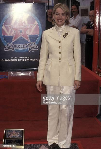 Actress Sharon Stone receives a Hollywood Walk of Fame Star on November 16 1995 at 6925 Hollywood Boulevard in Hollywood California