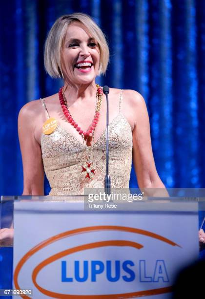 Actress Sharon Stone speaks onstage at Lupus LA's Orange Ball Rocket to a Cure at the California Science Center on April 22 2017 in Los Angeles...