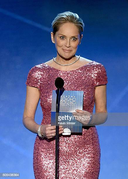 Actress Sharon Stone speaks onstage during the 21st Annual Critics' Choice Awards at Barker Hangar on January 17 2016 in Santa Monica California