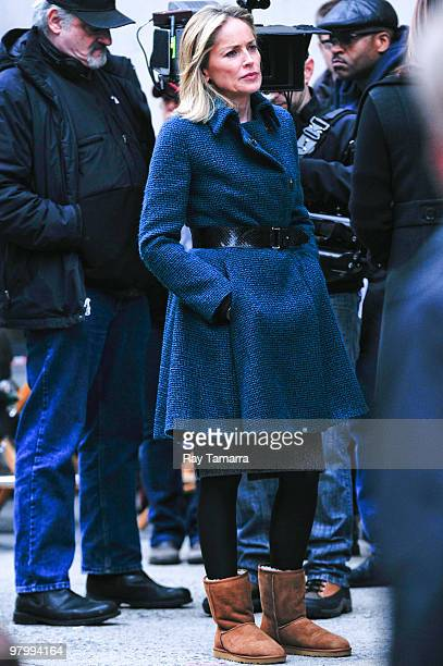 Actress Sharon Stone walks to the 'Law Order Special Victims Unit' film set in Tribeca on March 23 2010 in New York City