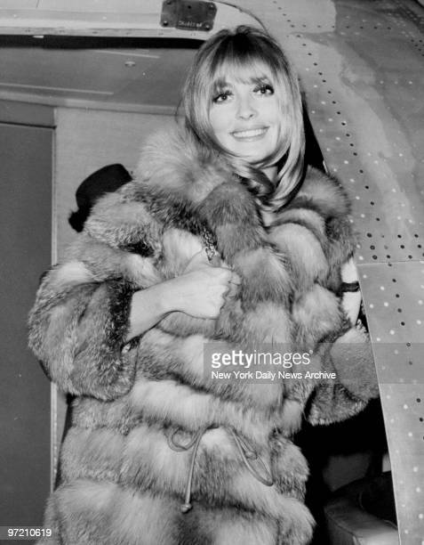 Actress Sharon Tate arriving at JFK in New York