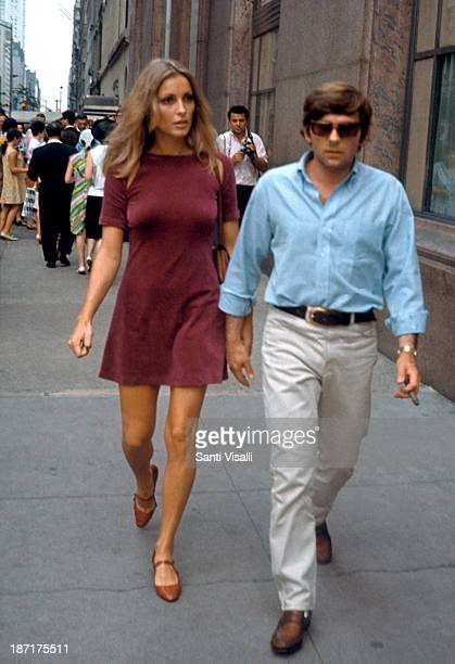 Actress Sharon Tate with her husband Roman Polanski visiting the set of Rosemary's Baby on August 151967 in New York New York