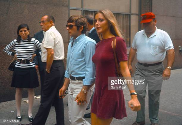 Actress Sharon Tate with her husband Roman Polansky visiting the set of Rosemary's Baby on August 151967 in New York New York
