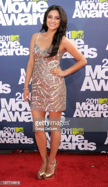 Actress Shay Mitchell arrives at the 2011 MTV Movie Awards at the Gibson Amphitheatre on June 5 2011 in Universal City California