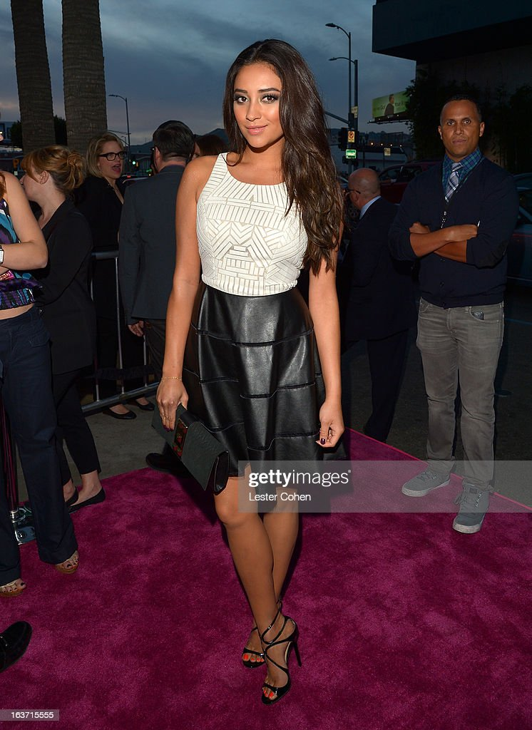 Actress Shay Mitchell attends the 'Spring Breakers' Los Angeles Premiere at ArcLight Hollywood on March 14, 2013 in Hollywood, California.