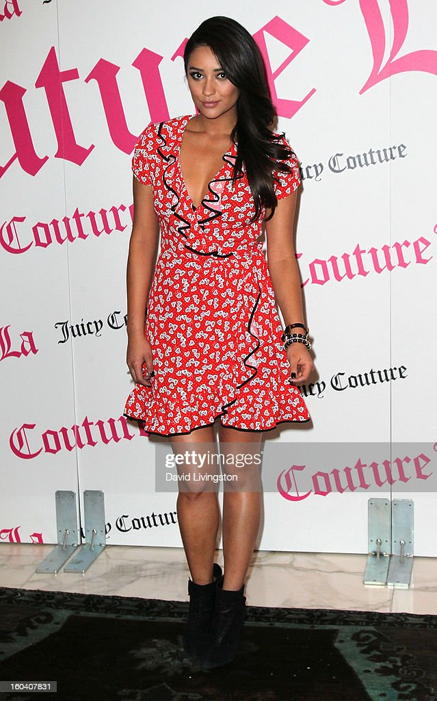 Actress <a gi-track='captionPersonalityLinkClicked' href=/galleries/search?phrase=Shay+Mitchell&family=editorial&specificpeople=6886213 ng-click='$event.stopPropagation()'>Shay Mitchell</a> launches Juicy Couture's 'Couture La La' fragrance at Juicy Couture on January 30, 2013 in Beverly Hills, California.