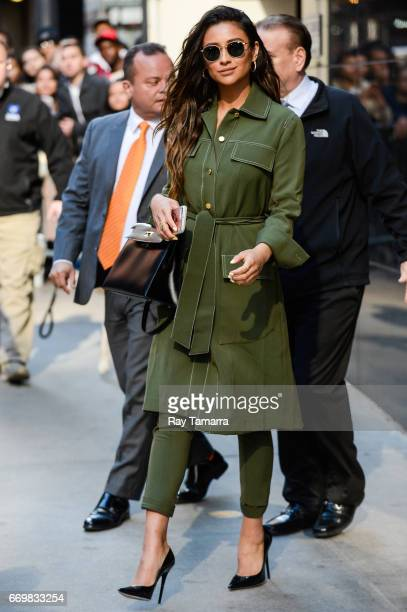 Actress Shay Mitchell leaves the 'Good Morning America' taping at the ABC Times Square Studios on April 18 2017 in New York City