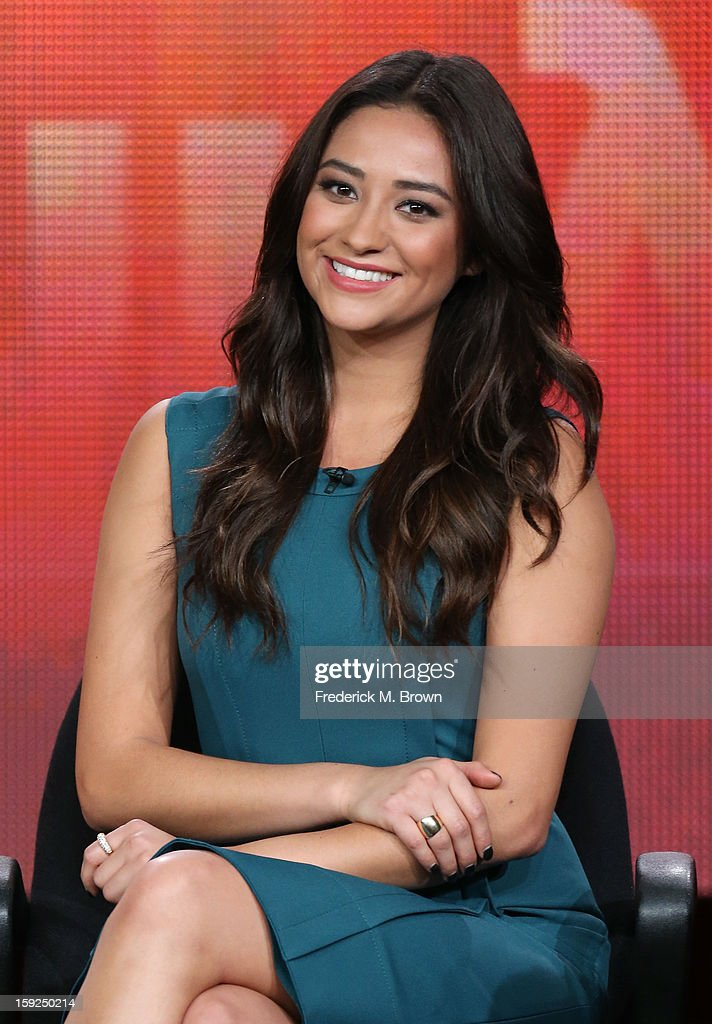 Actress Shay Mitchell of 'Pretty Little Liars' speaks onstage during the ABC portion of the 2013 Winter TCA Tour at Langham Hotel on January 10, 2013 in Pasadena, California.