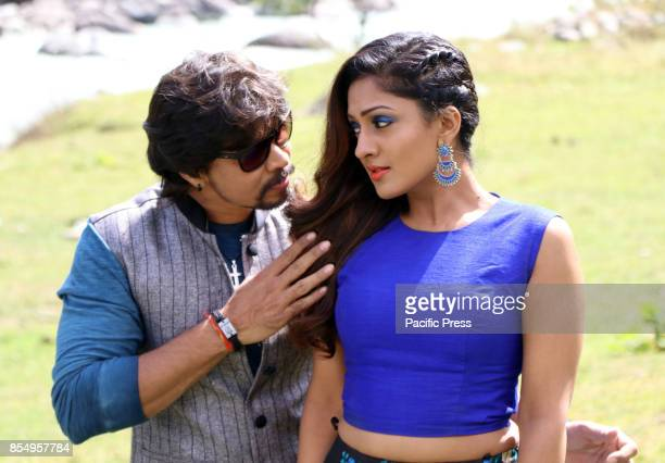 Actress Sheela Shetty poses as she sings during filming for the forthcoming film Hyper at Pahalgam some 100 kms from Srinagar
