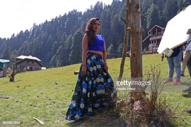 Actress Sheela Shetty poses for a picture during filming for the forthcoming film Hyper at Pahalgam some 100 kms from Srinagar