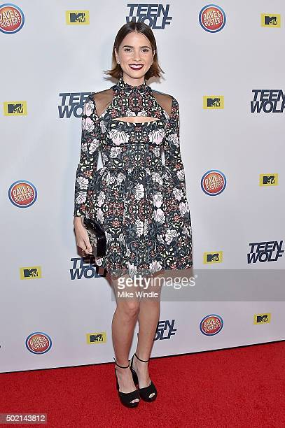 Actress Shelley Hennig attends the MTV Teen Wolf Los Angeles premiere party at Dave Busters on December 20 2015 in Hollywood California