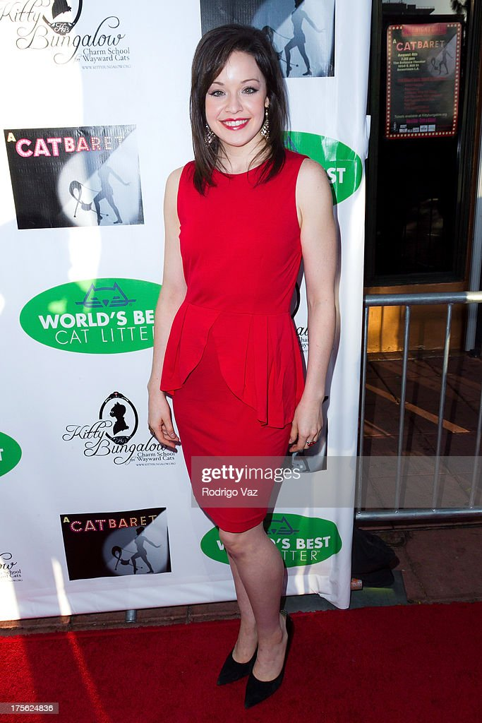 Actress Shelley Regner arrives at 'CATberet' - A Musical Review for local cat and kitten rescue center Kitty Bungalow Charm School For Wayward Cats at Belasco Theatre on August 4, 2013 in Los Angeles, California.
