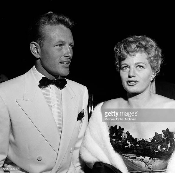Actress Shelley Winters and actor Jacques Sernas attends the premiere of 'Sabrina' in Los AngelesCA