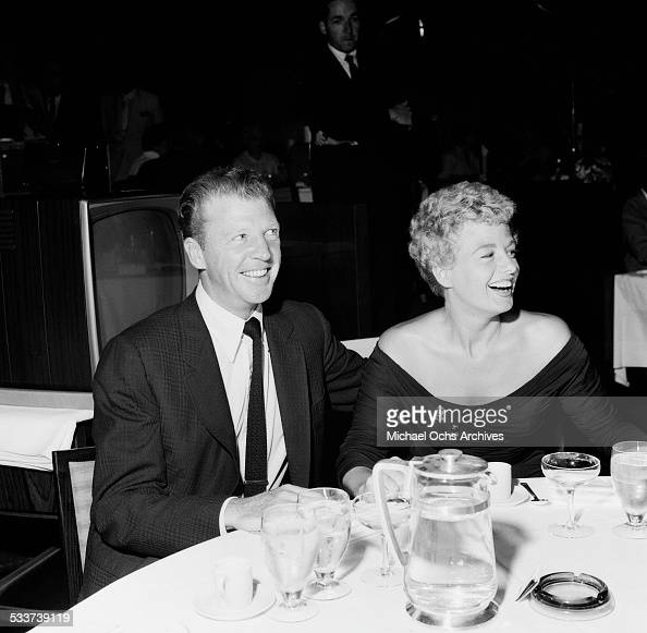 Actress Shelley Winters and guest attend the Colgate Comedy Hour at the Beverly Hilton Hotel in Los AngelesCA