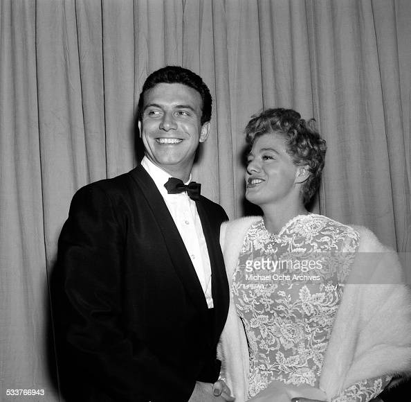 Actress Shelley Winters and husband actor Anthony Franciosa attend the Academy Awards in Los AngelesCA