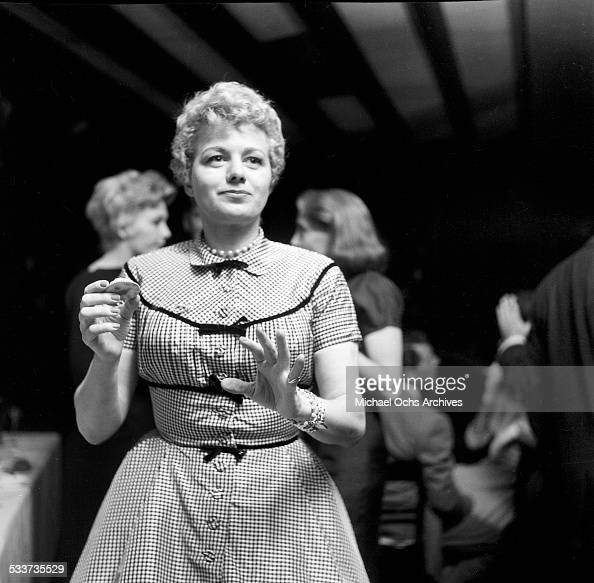 Actress Shelley Winters attends the Tony Curtis and Janet Leigh cocktail party in Los AngelesCA